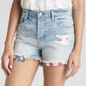 GAP High Waisted Distressed American Flag Shorts